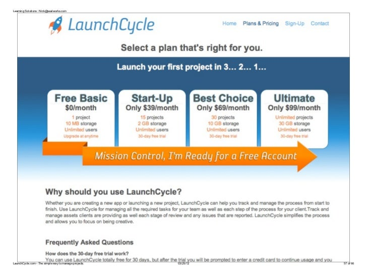 Learning Solutions : Nick@sealworks.comLaunchCycle.com - The simple way to manage projects.   03/25/12   57 of 66