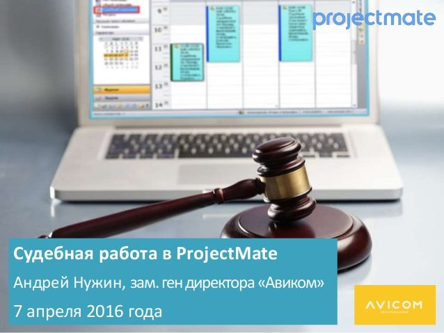 Судебная работа в ProjectMate Андрей Нужин, зам.гендиректора«Авиком» 7 апреля 2016 года