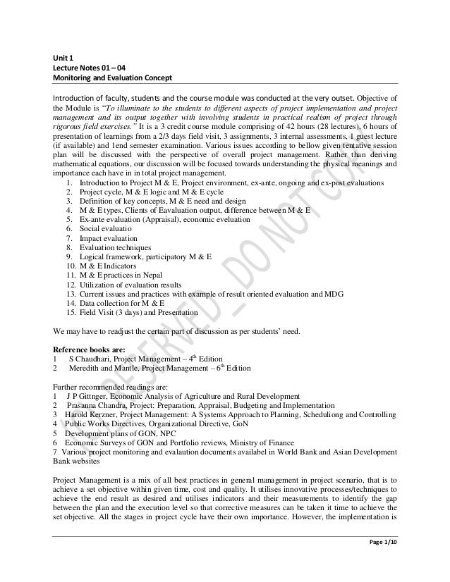 Page 1/10 Unit 1 Lecture Notes 01 – 04 Monitoring and Evaluation Concept Introduction of faculty, students and the course ...