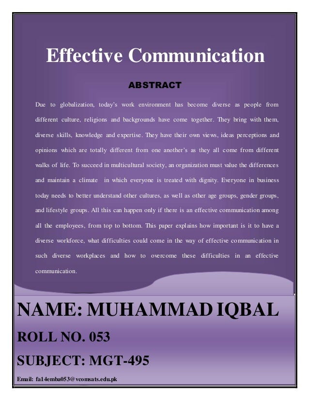 effective communication 15 essay Communication full essay effective communication will help state what is expected from workers i believe effective communication can be used in all aspects of.