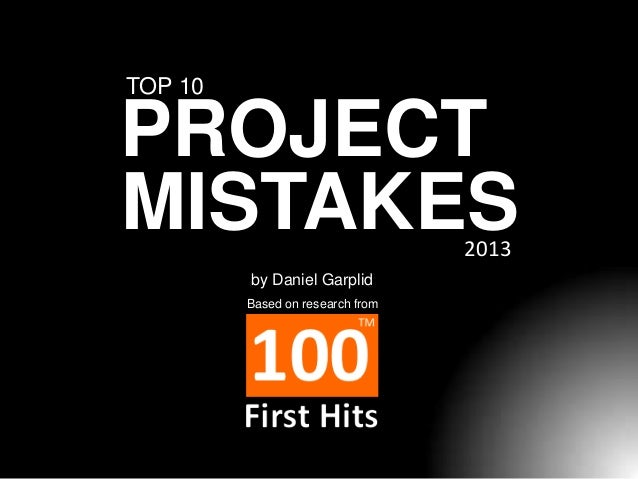 TOP 10  PROJECT MISTAKES 2013  by Daniel Garplid Based on research from