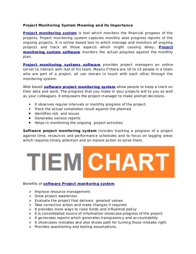 Project Monitoring System Meaning and its Importance - Tiem chart