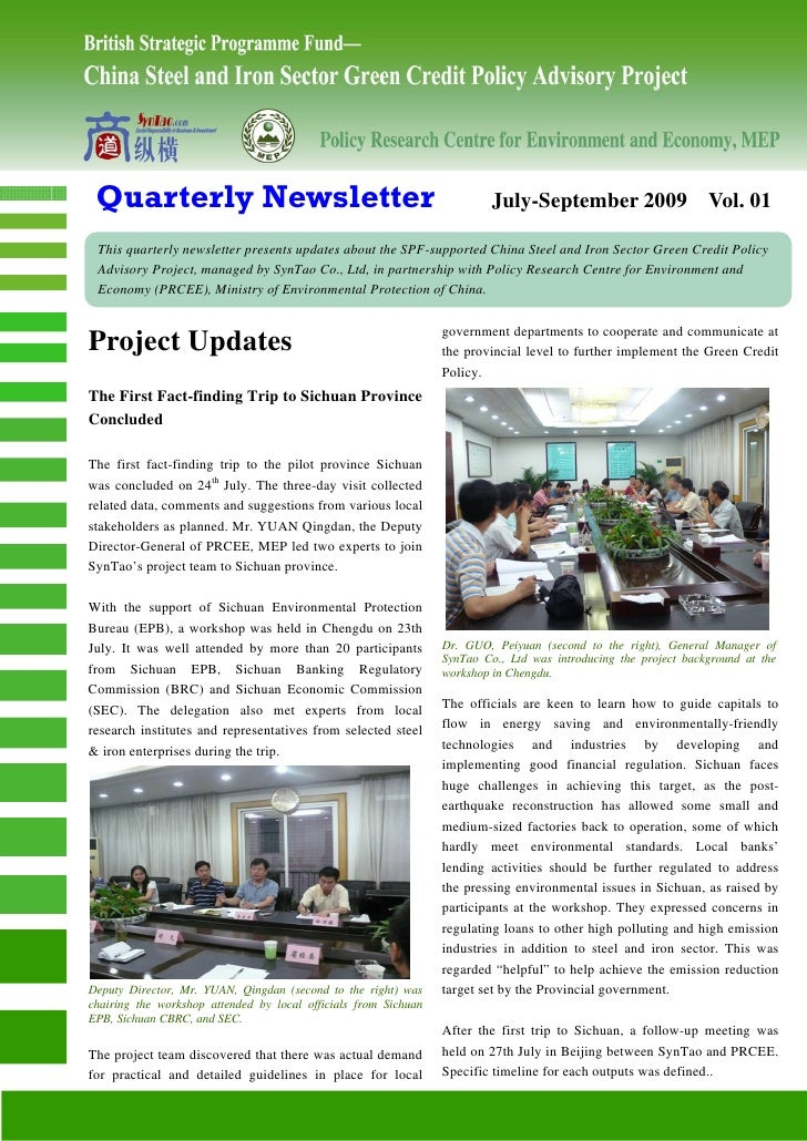 Quarterly Newsletter                                                     July-September 2009 Vol. 01   This quarterly news...
