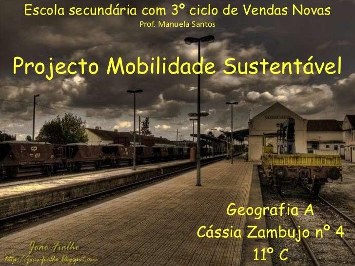 Escola secundária com 3º ciclo de Vendas Novas<br />Prof. Manuela Santos<br />Projecto Mobilidade Sustentável <br />Geogra...