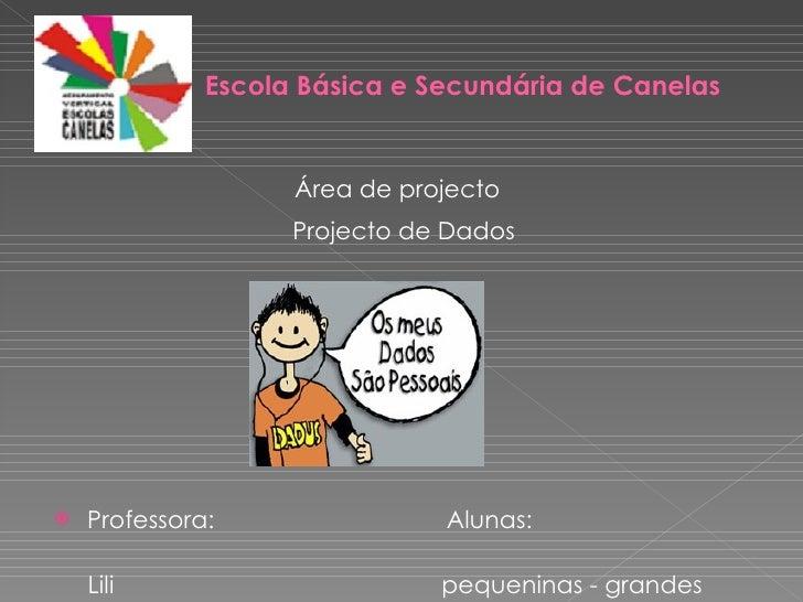 Escola Básica e Secundária de Canelas <ul><li>Área de projecto </li></ul><ul><li>Projecto de Dados   </li></ul><ul><li>Pro...