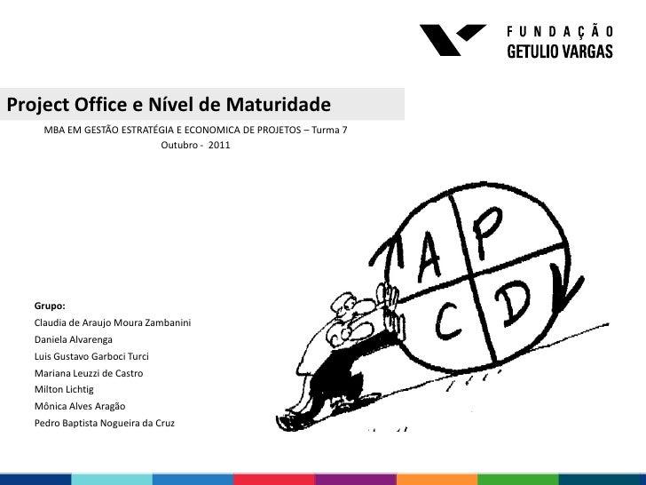 Project Office e Nível de Maturidade     MBA EM GESTÃO ESTRATÉGIA E ECONOMICA DE PROJETOS – Turma 7                       ...