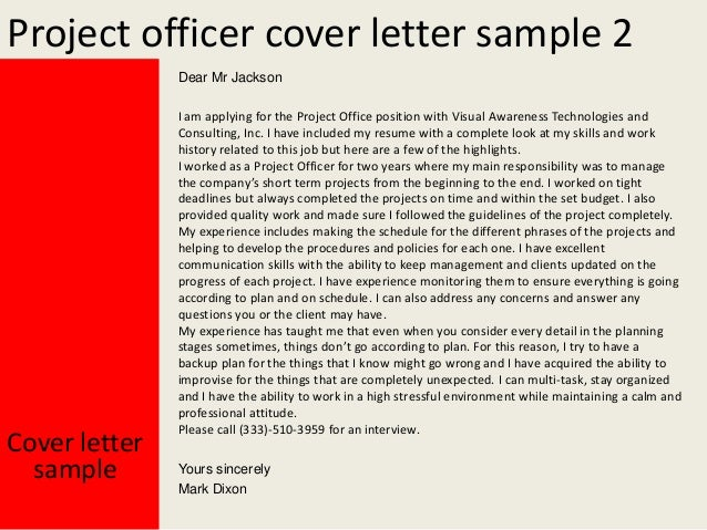 Project officer cover letter