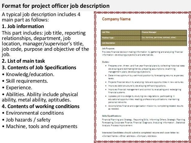 4. Format For Project Officer Job Description ...