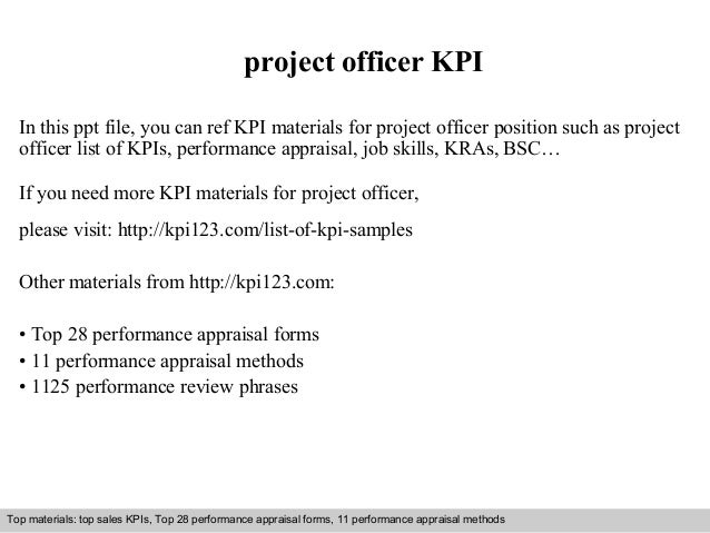 project officer KPI  In this ppt file, you can ref KPI materials for project officer position such as project  officer lis...