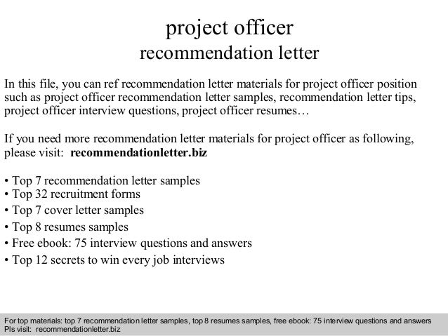 project officer recommendation letter