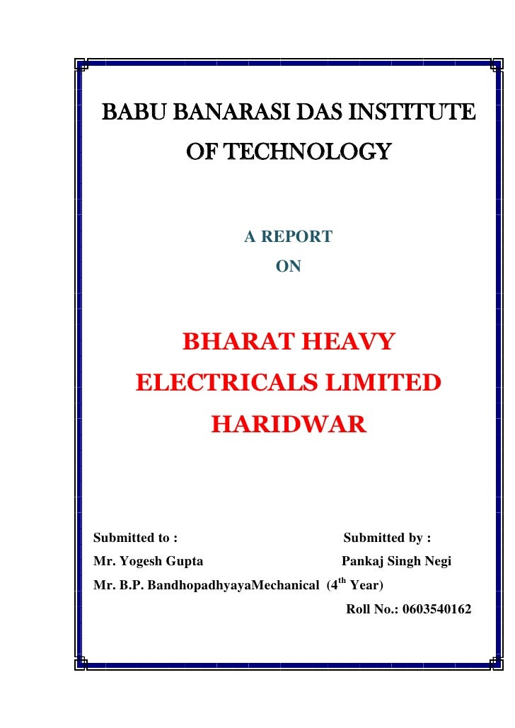 Project on bharat heavy electricals limited 4th sem