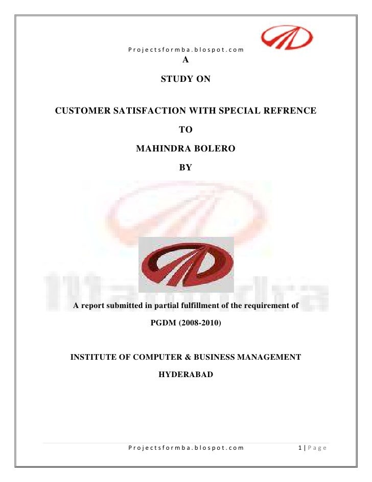 Project on customer satisfaction with special reference to mahindra bolero