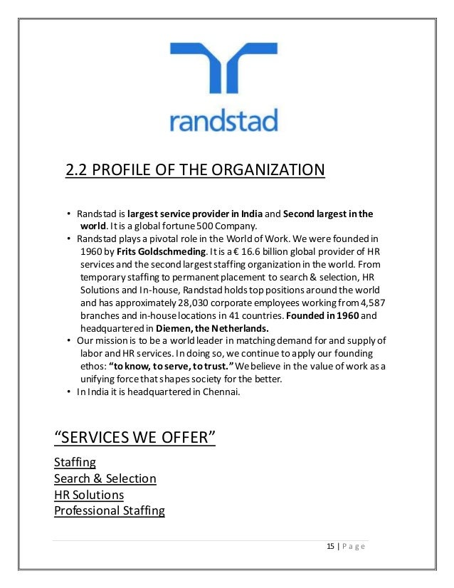 Randstad recruitment and the selection process