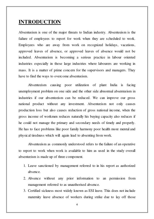 project on employees absenteeism