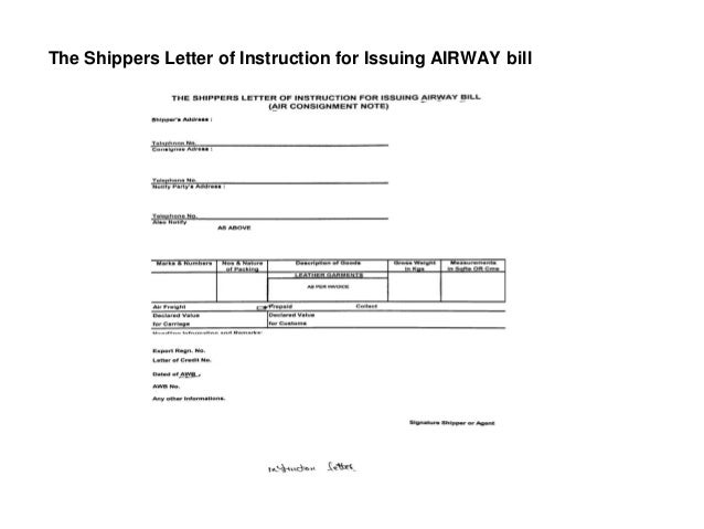 the shippers letter of instruction for issuing airway bill