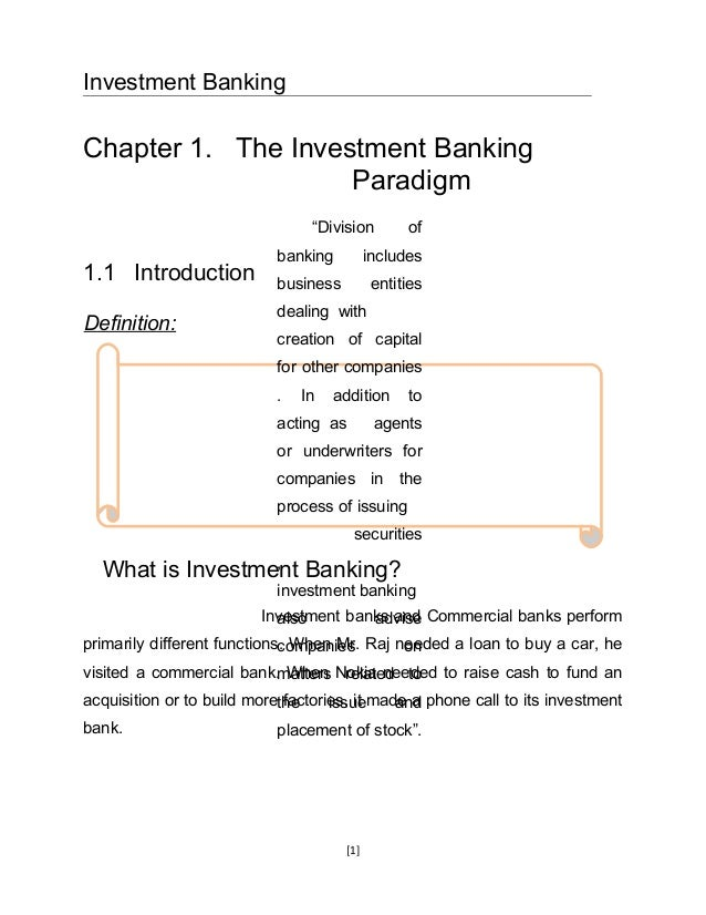 "Investment BankingChapter 1. The Investment Banking                    Paradigm                                 ""Division ..."