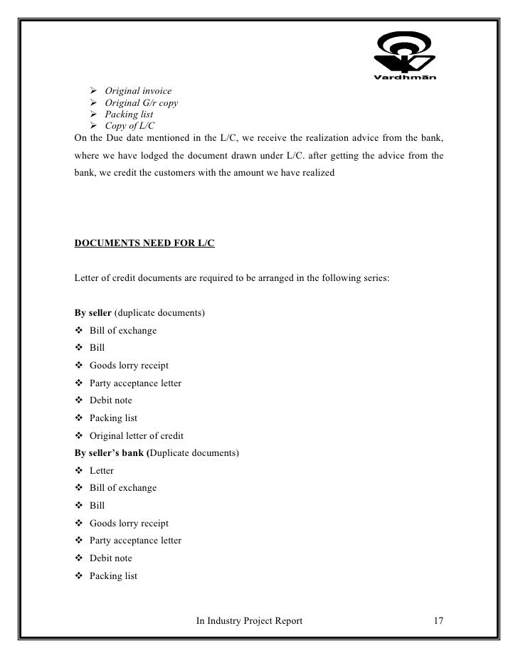 Project on letter of credit and working capital – Debit Note Letter