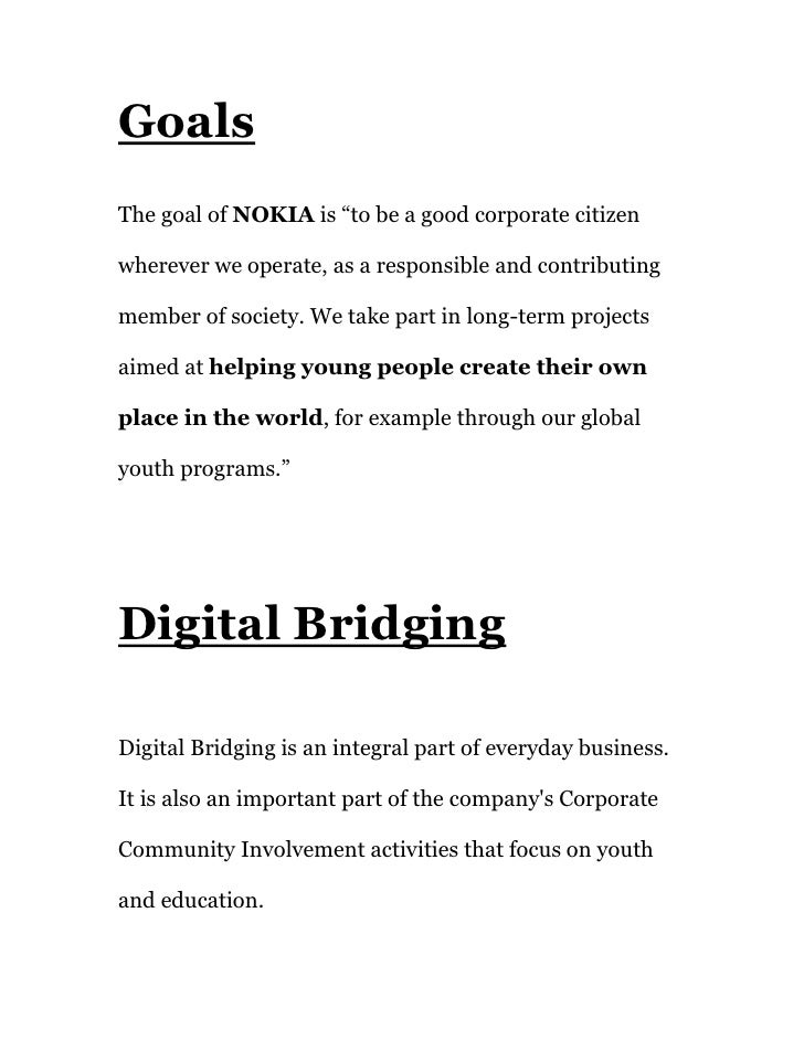 Project on nohia goals