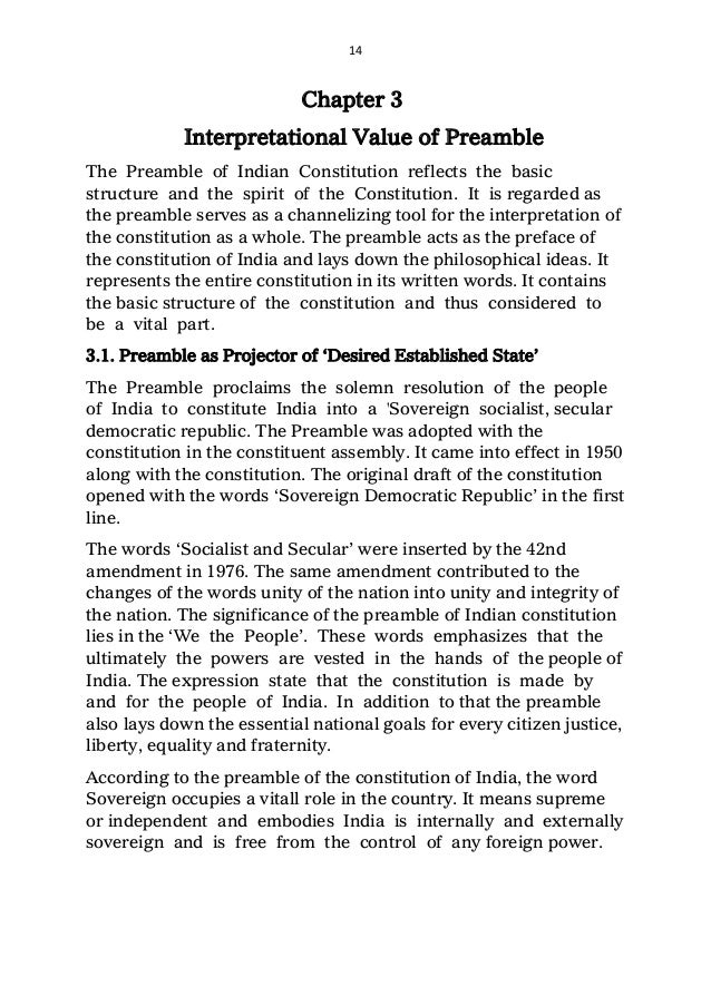role of preamble in the interpretation of constitution 14