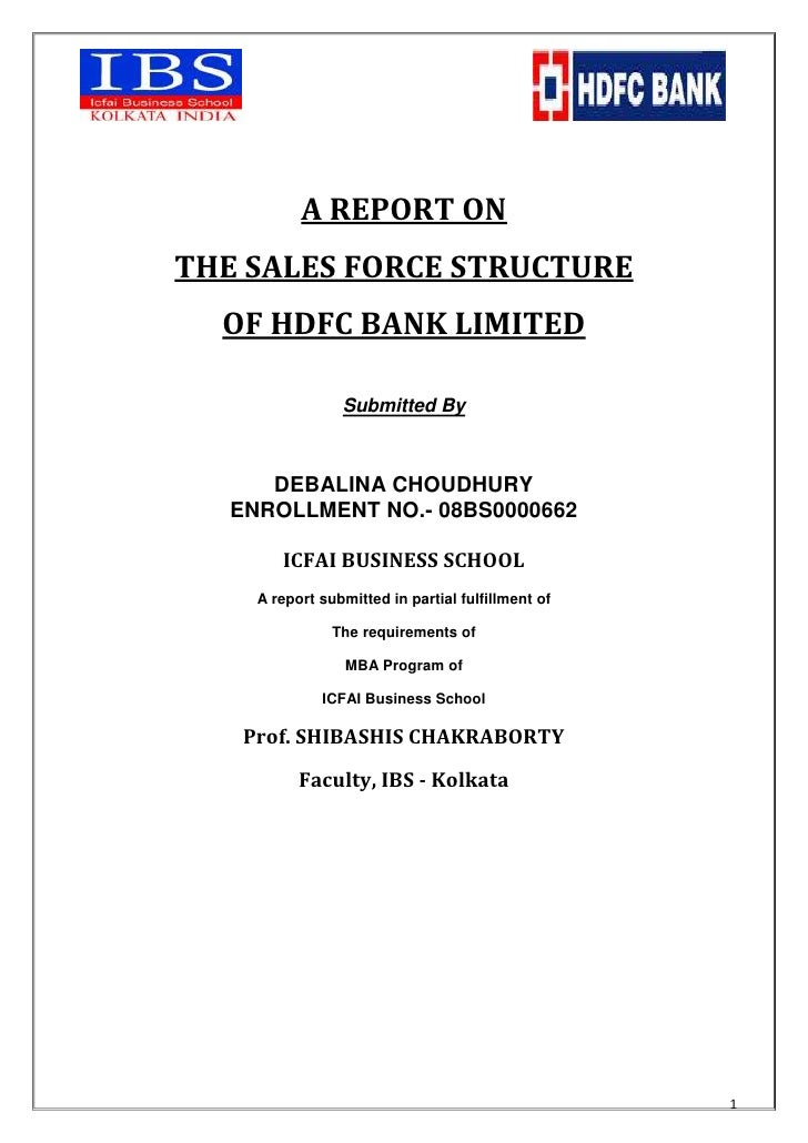 Project On Sales Force Structure Of Hdfc Bank Ltd