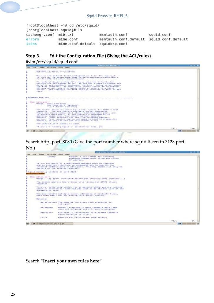 Project on squid proxy in rhel 6