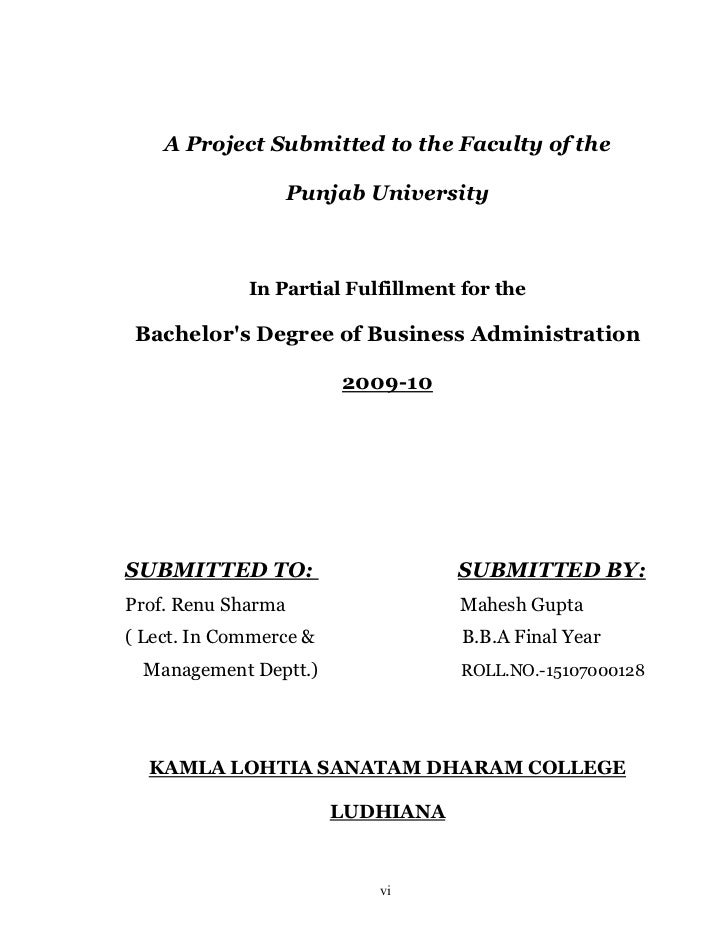 A Project Submitted to the Faculty of the                    Punjab University             In Partial Fulfillment for the ...