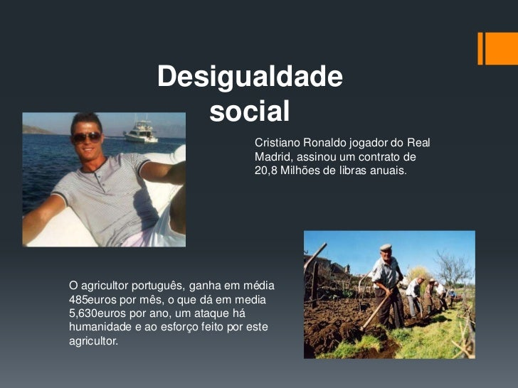 Desigualdade                   social                                  Cristiano Ronaldo jogador do Real                  ...