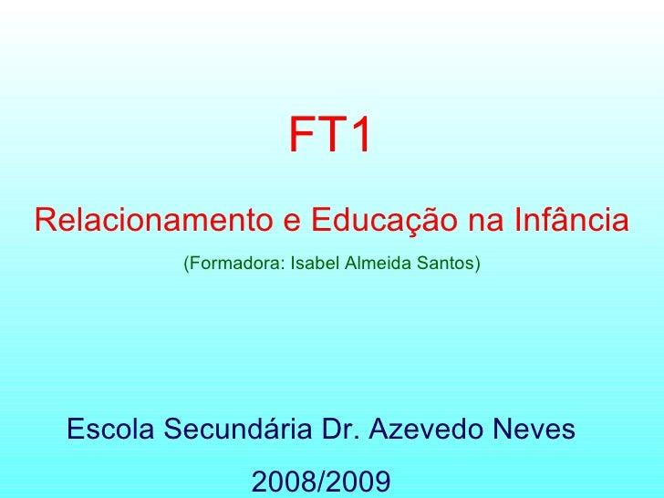 Escola Secundária Dr. Azevedo Neves 2008/2009 FT1 Relacionamento e Educação na Infância (Formadora: Isabel Almeida Santos)