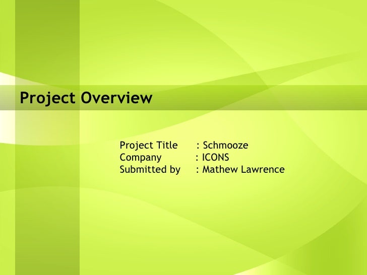 Project Overview Project Title  : Schmooze Company  : ICONS Submitted by  : Mathew Lawrence
