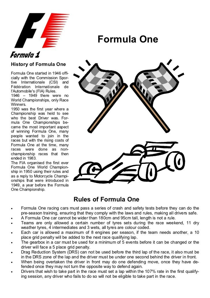 1                                               Formula OneHistory of Formula OneFormula One started in 1946 offi-cially w...