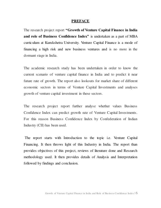 Research Project Report On Growth Of Venture Capital Finance In India…