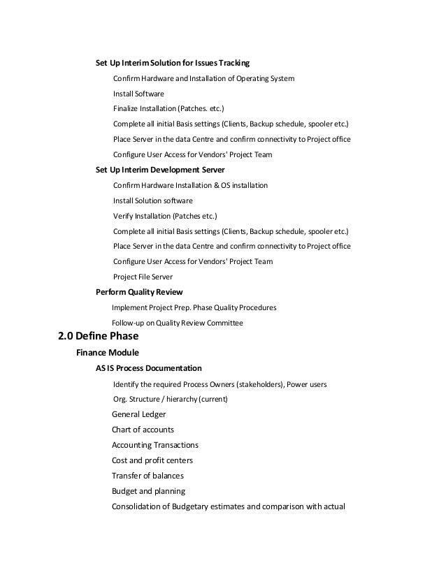 sample erp project plan