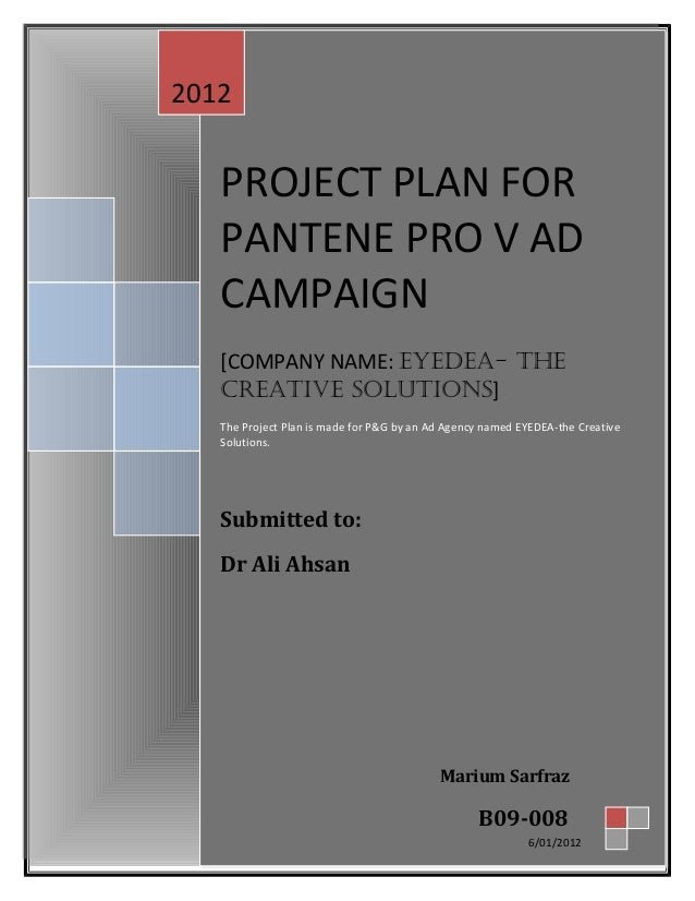 PROJECT PLAN FOR PANTENE PRO V AD CAMPAIGN [COMPANY NAME: EYEDEA- THE CREATIVE SOLUTIONS] The Project Plan is made for P&G...