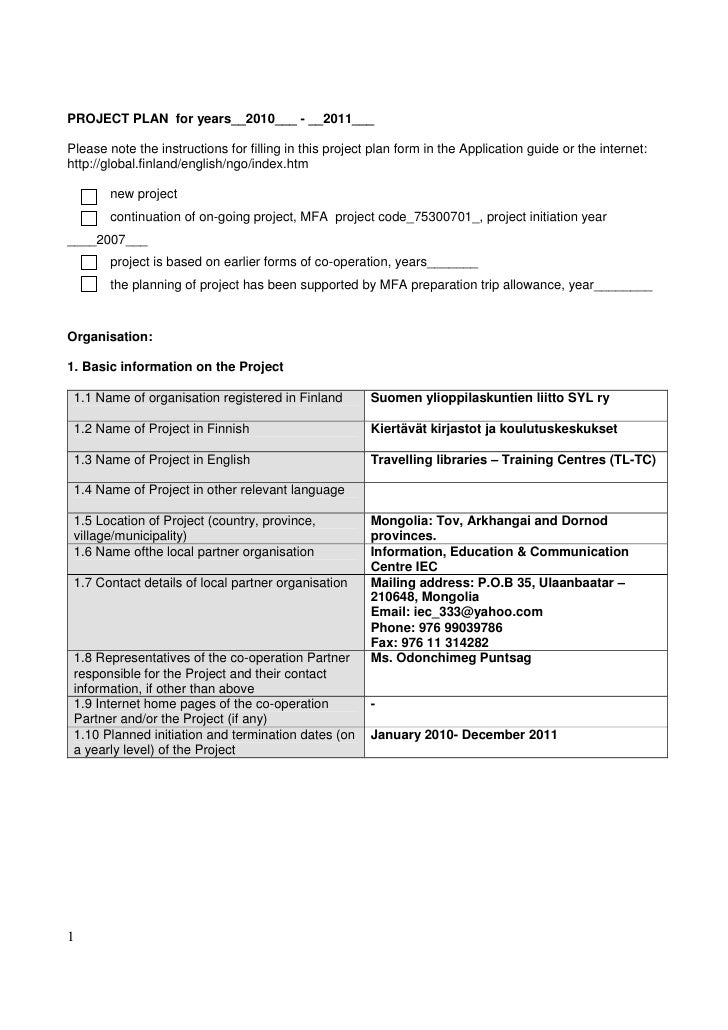 PROJECT PLAN for years__2010___ - __2011___Please note the instructions for filling in this project plan form in the Appli...