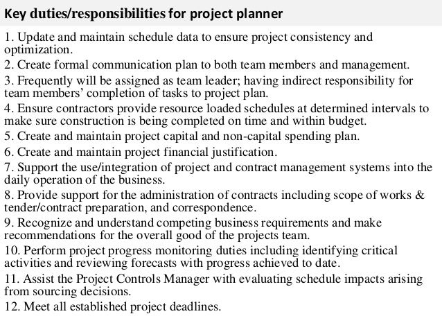Project Planner Job Description