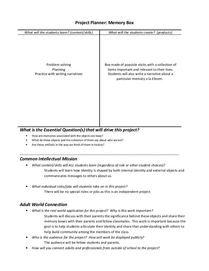 Project Planner: Memory Box   What will the students learn? (content/skills)                 What will the students create...