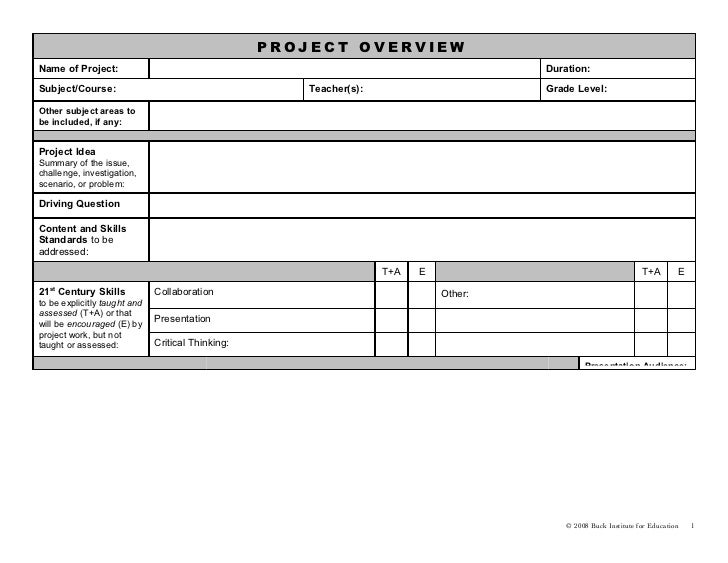 PROJECT OVERVIEWName of Project:                                                                        Duration:Subject/C...