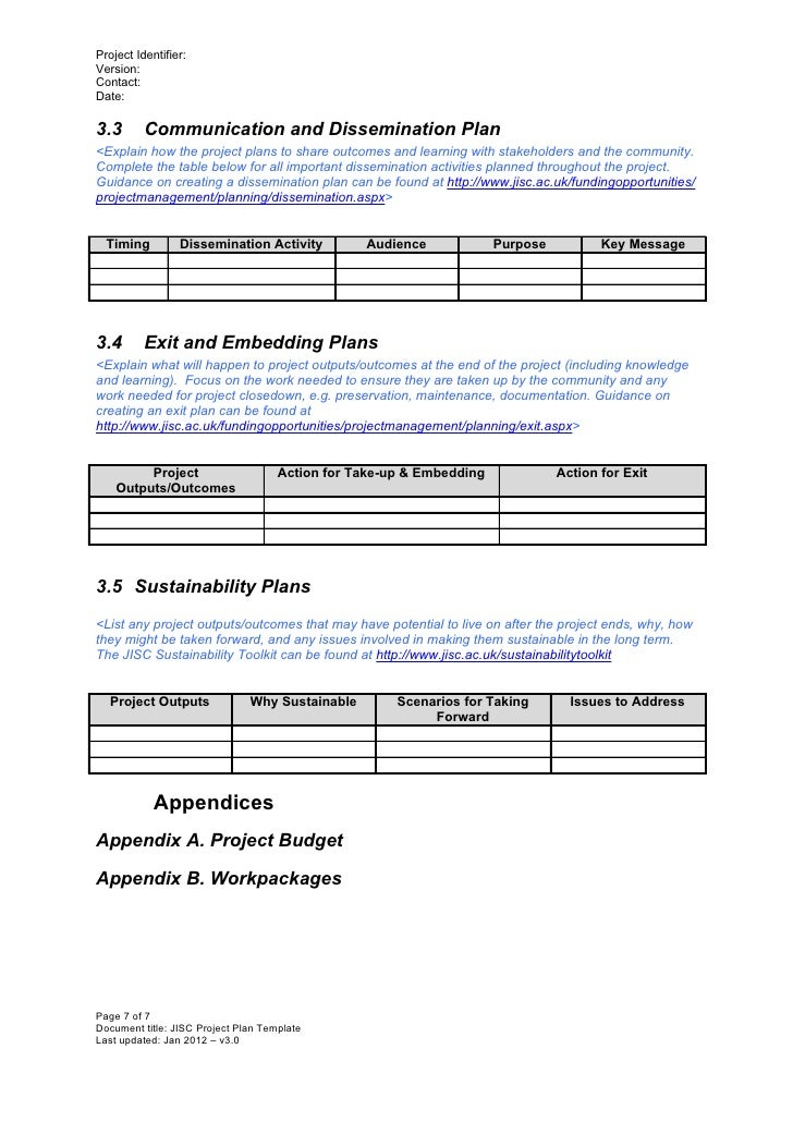 Project plan template v3 0 jan 2012 for Dissemination plan template