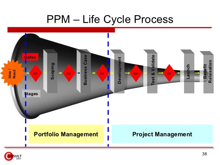 What are the stages of a project management cycle?
