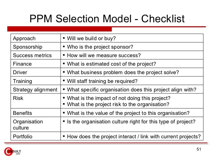 project selection criteria There are certain types of project selection models which are used to select the projects selection of project is an important part of business if you choose the wrong project, this may goes to loss instead of giving business benefits.