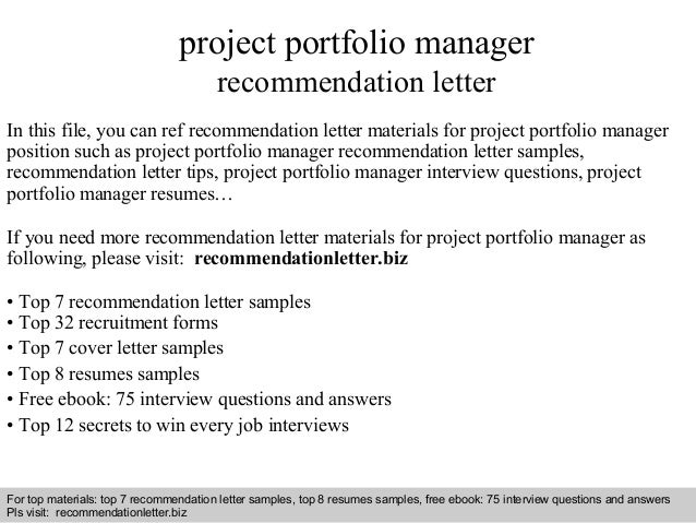 project portfolio manager recommendation letter