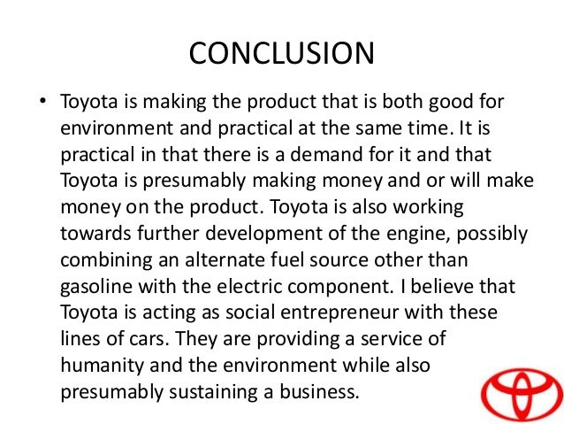 Conclusion of toyota company