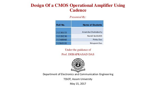 Design Of Cmos Operational Amplifiers Using Cadence