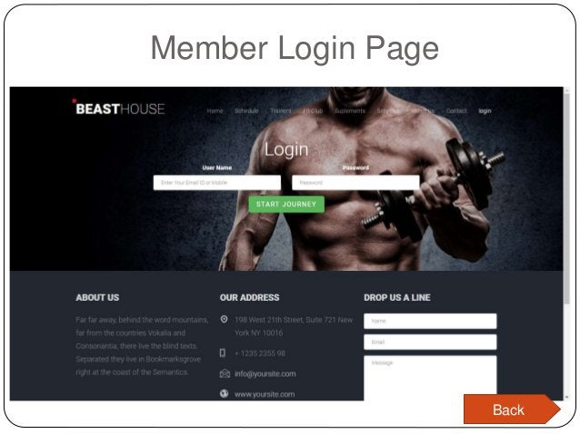 Member Login Page Back