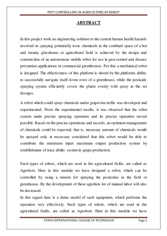 agriculture project report  Agriculture Robot report