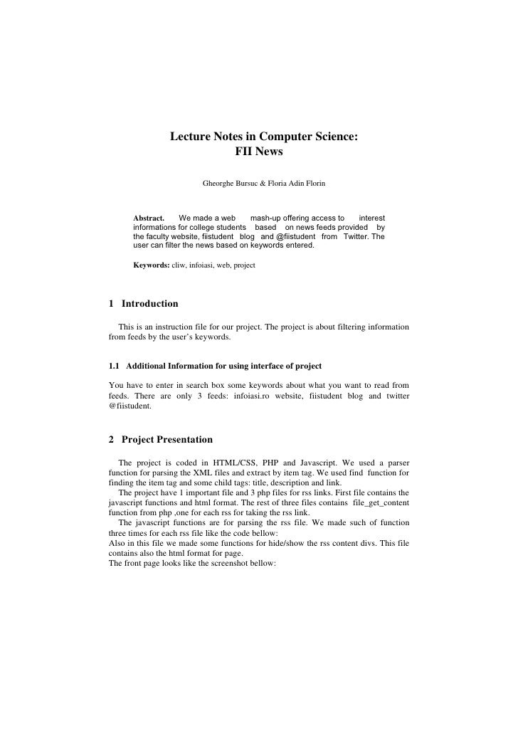 Lecture Notes in Computer Science:                             FII News                            Gheorghe Bursuc & Flori...