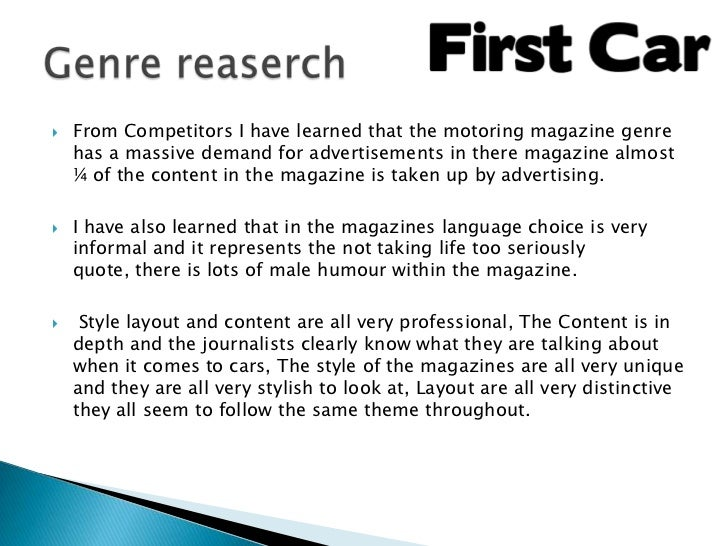    From Competitors I have learned that the motoring magazine genre    has a massive demand for advertisements in there m...