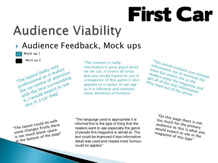 """   Audience Feedback, Mock ups    Mock up 1    Mock up 2                     """"The content is really                     i..."""