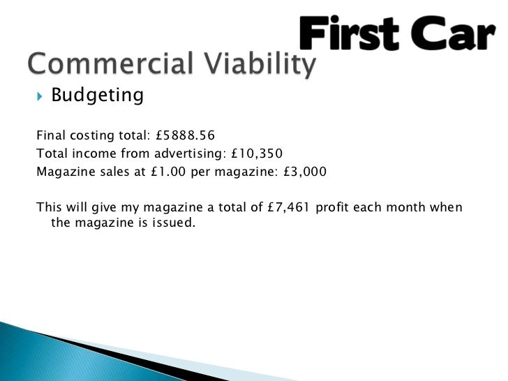    BudgetingFinal costing total: £5888.56Total income from advertising: £10,350Magazine sales at £1.00 per magazine: £3,0...