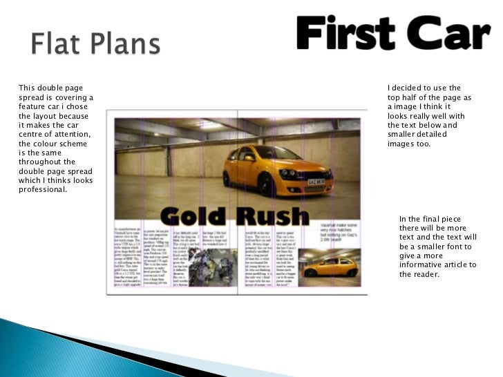 This double page       I decided to use thespread is covering a   top half of the page asfeature car i chose    a image I ...